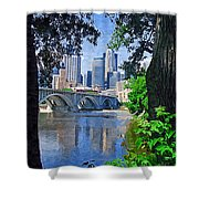 Minneapolis Through The Trees Shower Curtain