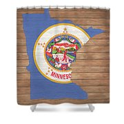 Minnesota Rustic Map On Wood Shower Curtain