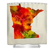 Minnesota State Map 04 Shower Curtain