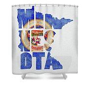 Minnesota Typography Map Flag Shower Curtain