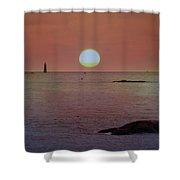 Minots Ledge Light At Sunrise Shower Curtain