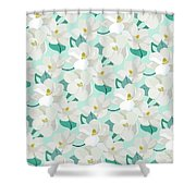 Mint Magnolias Shower Curtain by Elizabeth Tuck