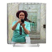 Mirrored Self-portrait Shower Curtain