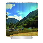 Mismaloya River Fishing Boats 0344 Shower Curtain