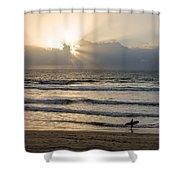 Mission Beach Surfer Shower Curtain