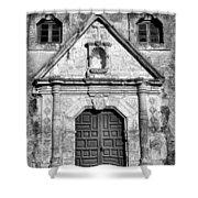 Mission Concepcion Entrance - Bw Shower Curtain