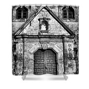 Mission Concepcion Front - Classic Bw Shower Curtain