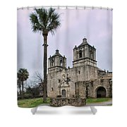 Mission Concepcion With Well And Tree Shower Curtain