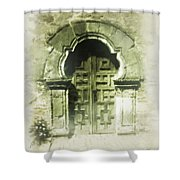 Mission Espada Chapel Door Shower Curtain