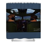 Mission Over Germany - Oil Shower Curtain