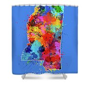 Mississippi Map Color Splatter 3 Shower Curtain