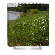 Mississippi River Bank Flowers Shower Curtain