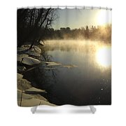 Mississippi River Bank Sunrise Shower Curtain