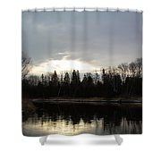 Mississippi River Dawn Clouds Shower Curtain