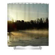 Mississippi River Dawn Light Rays Shower Curtain