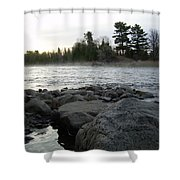 Mississippi River Dawn Over The Rocks Shower Curtain