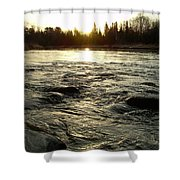 Mississippi River Dawn Reflection Shower Curtain