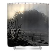 Mississippi River Dawn Sun Rays Shower Curtain