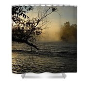 Mississippi River Foggy June Sunrise Shower Curtain