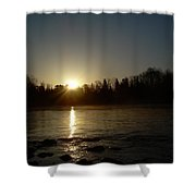 Mississippi River Golden Sunrise Shower Curtain