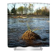 Mississippi River Grass On A Rock Shower Curtain
