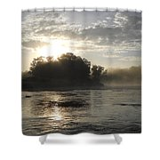 Mississippi River June Sunrise Reflection Shower Curtain