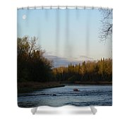 Mississippi River Moon At Dawn Shower Curtain