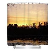 Mississippi River Orange Sky Shower Curtain