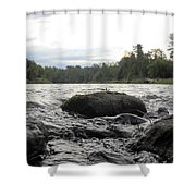 Mississippi River Rocks At Dawn Shower Curtain