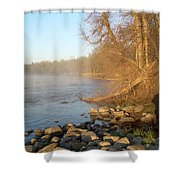 Mississippi River Shades Of Fog Shower Curtain
