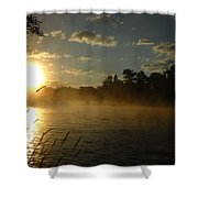 Mississippi River Sunrise Fog Shower Curtain
