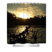 Mississippi River Sunrise Tree Roots Shower Curtain