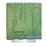 Mississippi State Usa 3d Render Topographic Map Border Shower Curtain
