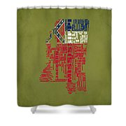 Mississippitypographic Map Shower Curtain