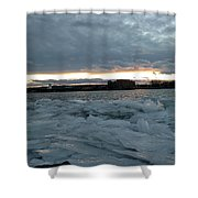 Missouri River Ice Sheet Sunset Shower Curtain