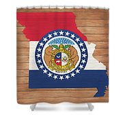 Missouri Rustic Map On Wood Shower Curtain