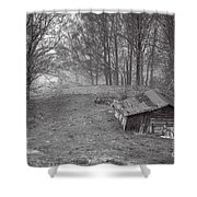 Mist Field And Barn Shower Curtain