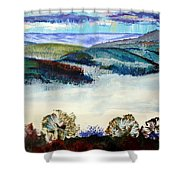 Mist In The Exe Valley In Exeter Devon Shower Curtain