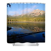 Mist On Pyramid Mountain Shower Curtain