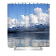 Mist Over Priest Lake Shower Curtain