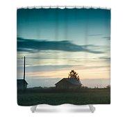 Mist Rises Over The Barn Houses Shower Curtain