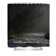 Mist Rising From The River Dove On A Winter's Day Dovedale Peak District Derbyshire England Shower Curtain