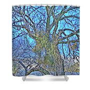 Mistletoe Tree Shower Curtain