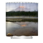 Misty Alpenglow Shower Curtain