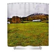 Misty Autumn At The Farm Shower Curtain