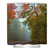 Misty Autumn Road Shower Curtain