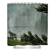 Misty Bridge At Heceta Head Shower Curtain