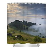 Misty Dawn In The Mountains Shower Curtain