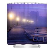 Misty Morning Boardwalk Shower Curtain