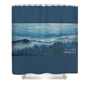 Misty Morning Fog Mount Mansfield Panorama Painting Shower Curtain